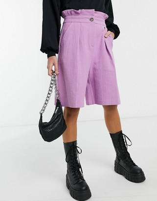 Palones paperbag waist city shorts in lilac