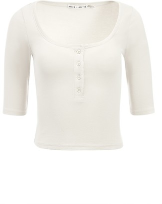 Alice + Olivia Mindy Button Front Tee