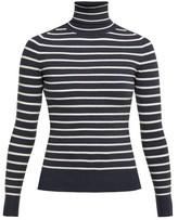 JoosTricot Breton-striped Roll-neck Sweater - Womens - Navy White