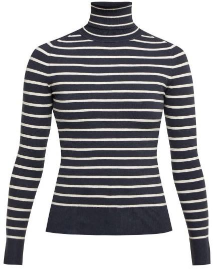 JoosTricot Breton-striped Roll-neck Sweater - Navy White
