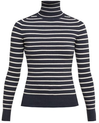 JoosTricot Breton-striped Roll-neck Sweater - Womens - Navy White
