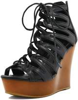 Allegra K Woman Lace-Up Cutout Open Toe Wedge Sandals (Size US 6)