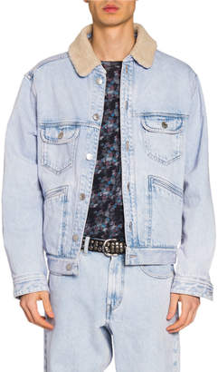 Isabel Marant Men's Jean Jacket w/ Faux-Shearling Collar