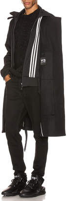 Yohji Yamamoto Y 3 Y-3 3 Stripe Reversible Layered Track Coat in Black & Black & Ecru | FWRD