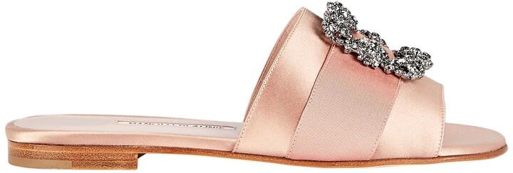Manolo Blahnik Martamod Crystal Slide Sandals