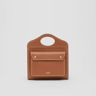 Burberry Mini Topstitched Leather Pocket Bag