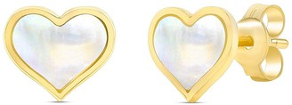 Ron Hami 14K Yellow Gold Mother of Pealr Heart Shaped Stud Earrings