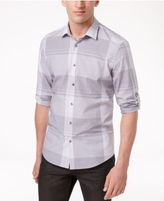 Alfani Men's Chambray Plaid Adjustable-Sleeve Cotton Shirt, Only at Macy's