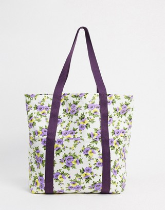 Asos Design DESIGN canvas shopper in ditsy floral print