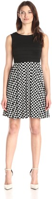 Julian Taylor Women's Solid Top Dot Skirt Dress