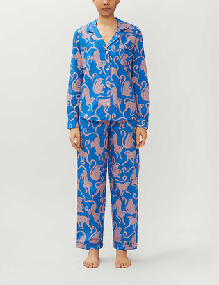 Desmond & Dempsey Chango monkey-print cotton pyjama set