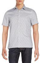 Perry Ellis Slim-Fit Patterned Cotton Short Sleeve Shirt