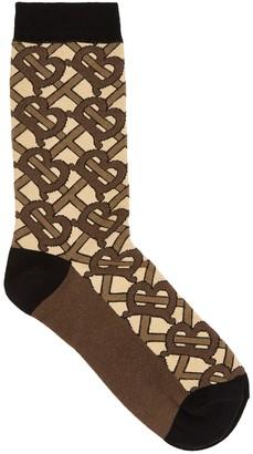 Burberry Brown Logo Cotton-blend Socks
