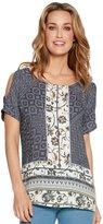 M&Co Tile print cold shoulder top