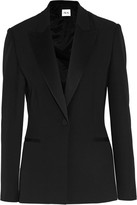 Pallas Satin-trimmed Grain De Poudre Wool Blazer - Black