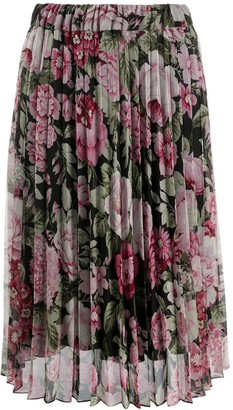 P.A.R.O.S.H. Floral Print Pleated Midi Skirt