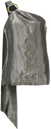 HANEY Lena one-shoulder metallic top