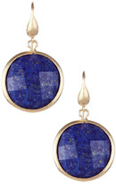 Rivka Friedman 18K Gold Clad Faceted Round Lapis Dangle Earrings