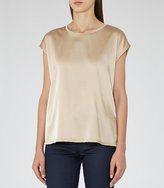 Reiss Ki Silk-Front T-Shirt