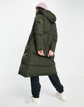 Brave Soul cello maxi longline puffer coat in khaki
