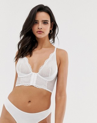Gossard Superboost lace longline underwire bra in white