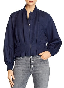 Frame Pleated Bomber Jacket