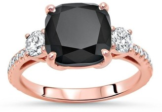 Overstock 14k Rose Gold 3 & 2/5 ct Black Diamond Cushion Cut 3 Stone Engagement Ring