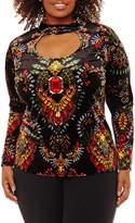 Bisou Bisou Long Sleeve Keyhole Neck Pattern T-Shirt-Womens Plus