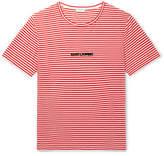 Saint Laurent Flocked Striped Cotton-Jersey T-Shirt