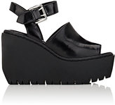 Opening Ceremony WOMEN'S LUNA SPAZZOLATO LEATHER PLATFORM WEDGE SANDALS-BLACK SIZE 6