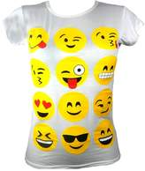 Ael Kids Emoji Emoticons Smiley Faces Short Sleeve T-Shirts Tops Girls Age New 7 9 11 13 Years Delivery In 10 Days
