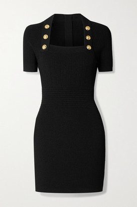 Balmain Button-embellished Ribbed-knit Mini Dress - Black
