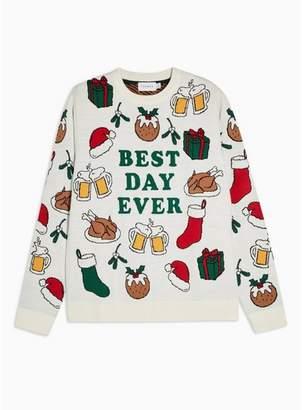 Topman Mens Cream Christmas Best Day Ever Jumper