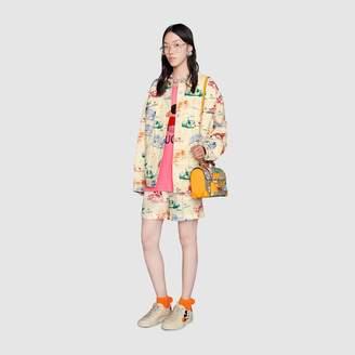 Gucci Padlock GG Flora small bamboo shoulder bag