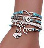 Bestpriceam Handmade Infinity Silver 8 Owl Leaf Bird Leather Bracelet Wristband