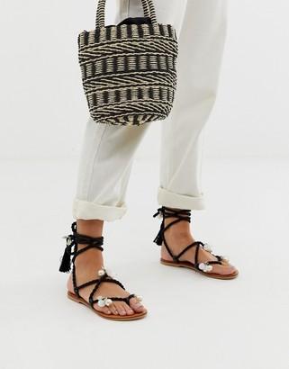 Asos DESIGN Fields embellished tie leg flat sandals