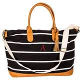 Cathy's Concepts Striped Canvas and Faux Leather Oversized Weekender Tote