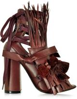 N°21 Burgundy Leather Heel Sandal w/Pom Pom Tassel & Fringe