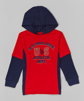 U.S. Polo Assn. Red & Black 'US' Layered Hoodie - Boys