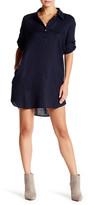 Allen Allen Linen Roll Tab Shirt Dress (Petite)