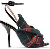 No.21 No. 21 - Knotted Plaid Canvas And Patent-leather Sandals - Red