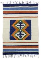 Striped Wool Area Rug in Navy and Burnt Orange (4x6), 'Humid Forest'