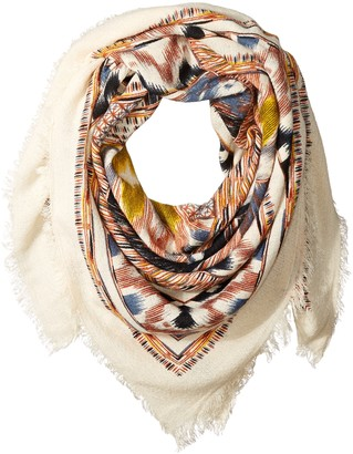 La Fiorentina Women's Oversized Aztec Scarf with Fray Ends