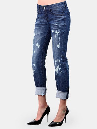 Standards & Practices X-Boyfriend Low Rise Distressed Bleach Pattern Jeans
