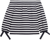 J.Crew Off-the-shoulder Striped Cotton-jersey Top - Midnight blue