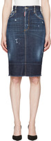 DSQUARED2 Blue Frayed Hem Skirt