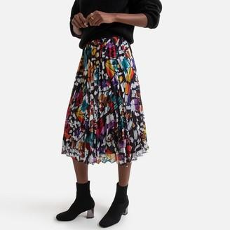 Derhy Printed Knee-Length Skirt with Elasticated Waist
