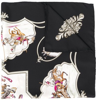 Hermes 1990's Pre-Owned Animals Print Scarf