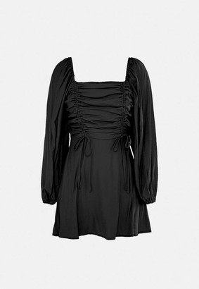 Missguided Black Ruched Bust Aline Dress