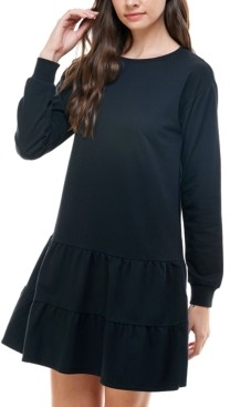 Planet Gold Juniors' French Terry Ruffled A-Line Dress